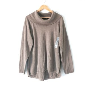 Jeanne Pierre Taupe Heather Cowl Neck Sweater NEW